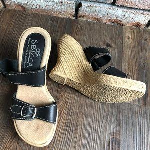 SBICCA Hand Made California BLACK WEDGE Sandals  6